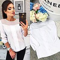 Красивая белая блузка с круглым вырезом и кружевом арт 793/2