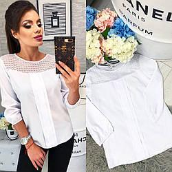 Красива біла блузка з круглим вирізом і мереживом арт 793/2
