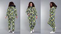 """Женский дутый зимний комбинезон больших размеров """" Орнамент """" Dress Code"""