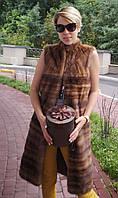 Жилетка женская норковая длинная поперечка орех, фото 1