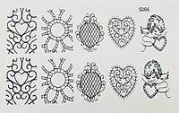 Водные наклейки (слайдер дизайн) для ногтейS006