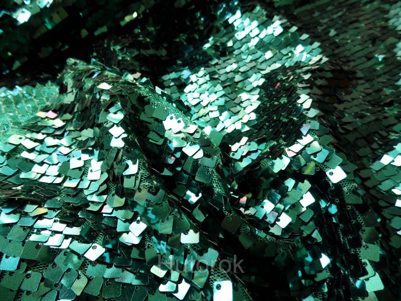 Пайеточная ткань квадрат (зеленый изумруд)