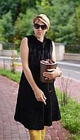 Жилетка женская норковая с каракулем патицем, длинная, коричневая, фото 1