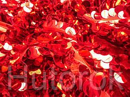 Пайеточная ткань круглая крупная (красный)