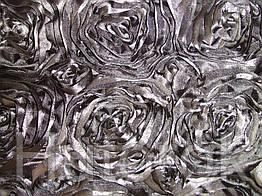 Ткань АТЛАСНЫЕ (РОЗЫ 3D)