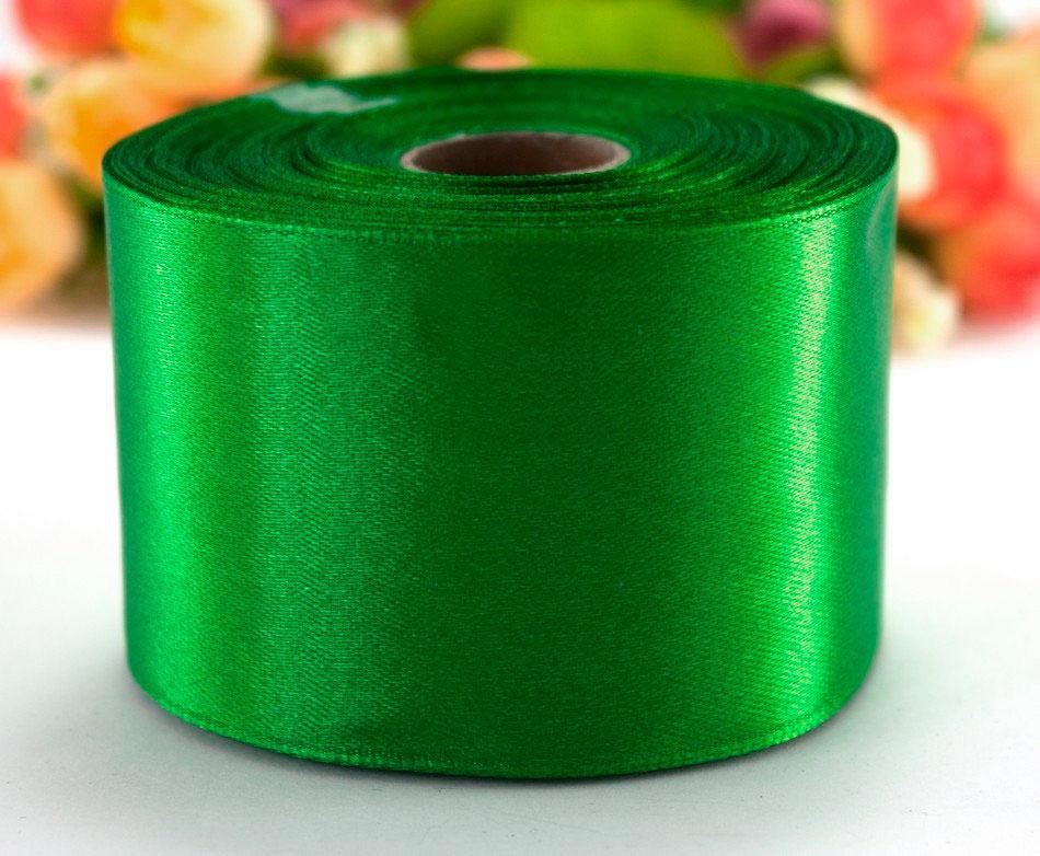 """Лента атласная 5см ширина (25 ярдов) """"LiaM"""" Цена за рулон. Цвет - Зелёный"""