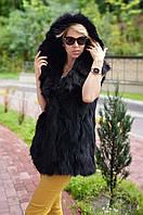 Жилетка из лисицы с капюшоном черная натуральная, фото 1