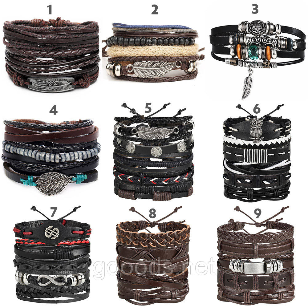 Комплект плетеных кожаных браслетов для мужчин