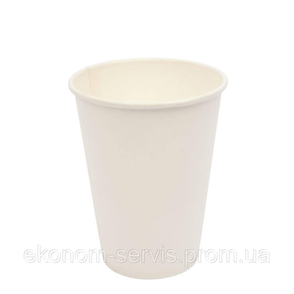 Стакан бумажный без принта, белый 250 мл, d 7,5 см, 50 шт.(кр.75)