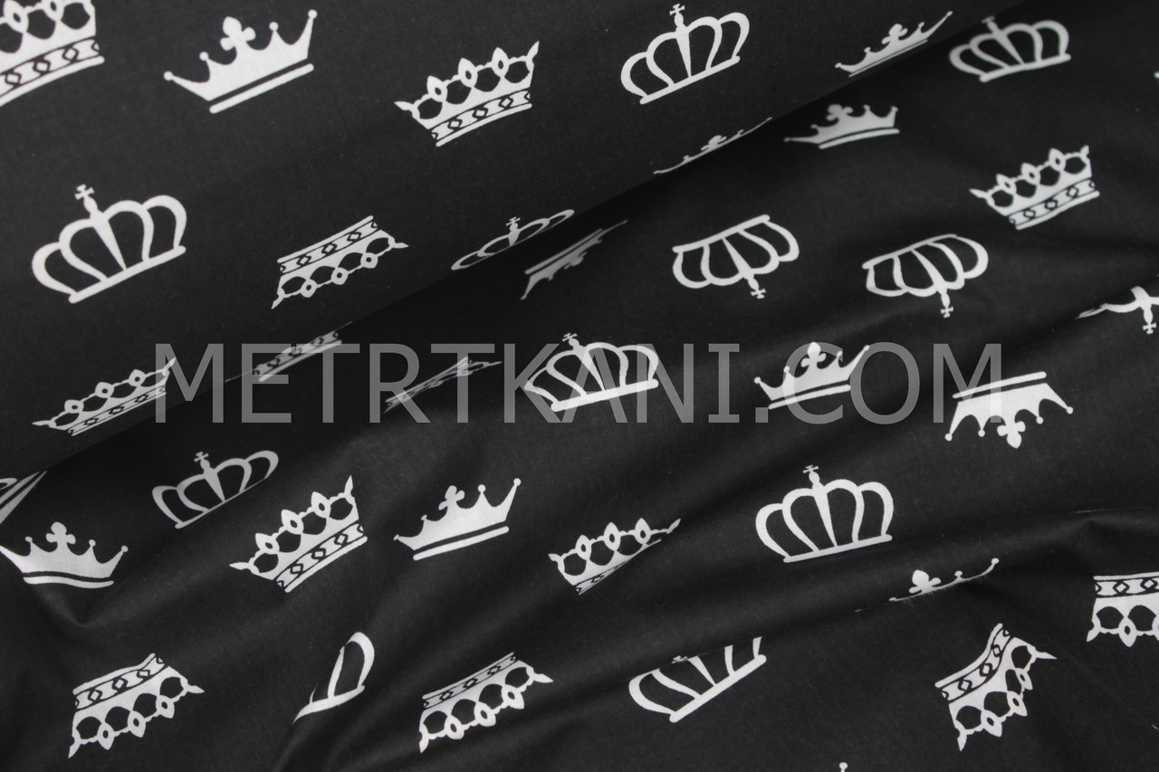 Хлопковая ткань с белыми коронами на чёрном фоне №1011