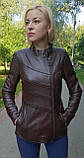 Женская весенняя кожаная куртка коричневая, фото 2