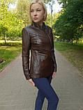 Женская весенняя кожаная куртка коричневая, фото 3
