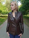 Женская весенняя кожаная куртка коричневая, фото 4
