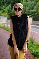 Жилетка из натуральной лисы, черная, ворот стойка, фото 1