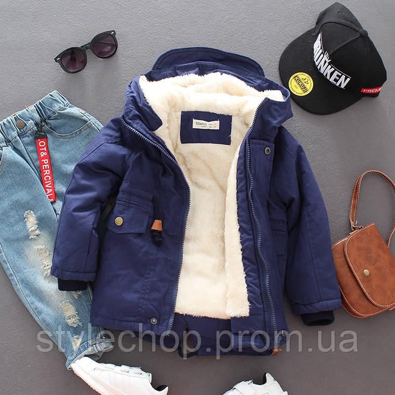 Курточка парку для хлопчика темно-синя