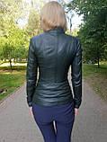 Женская зеленая кожаная куртка, фото 3