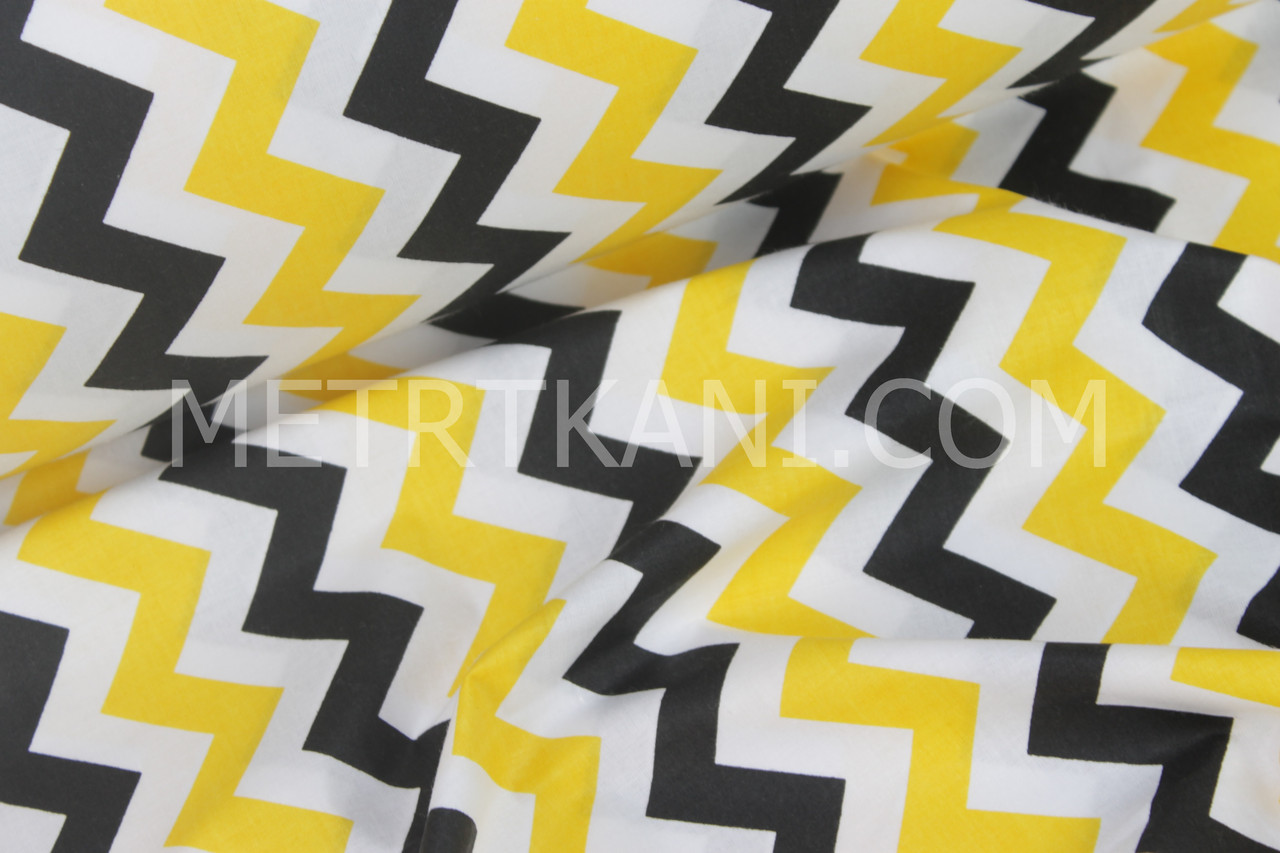 Ткань,польская бязь чёрно-желтый зигзаг  №969
