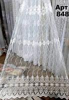 Тюль микросетка белая с вышивкой (тюлевая ткань на метраж)