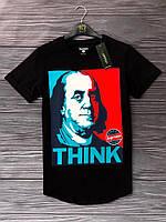 Мужская футболка на лето Франклин из хлопка (черная)