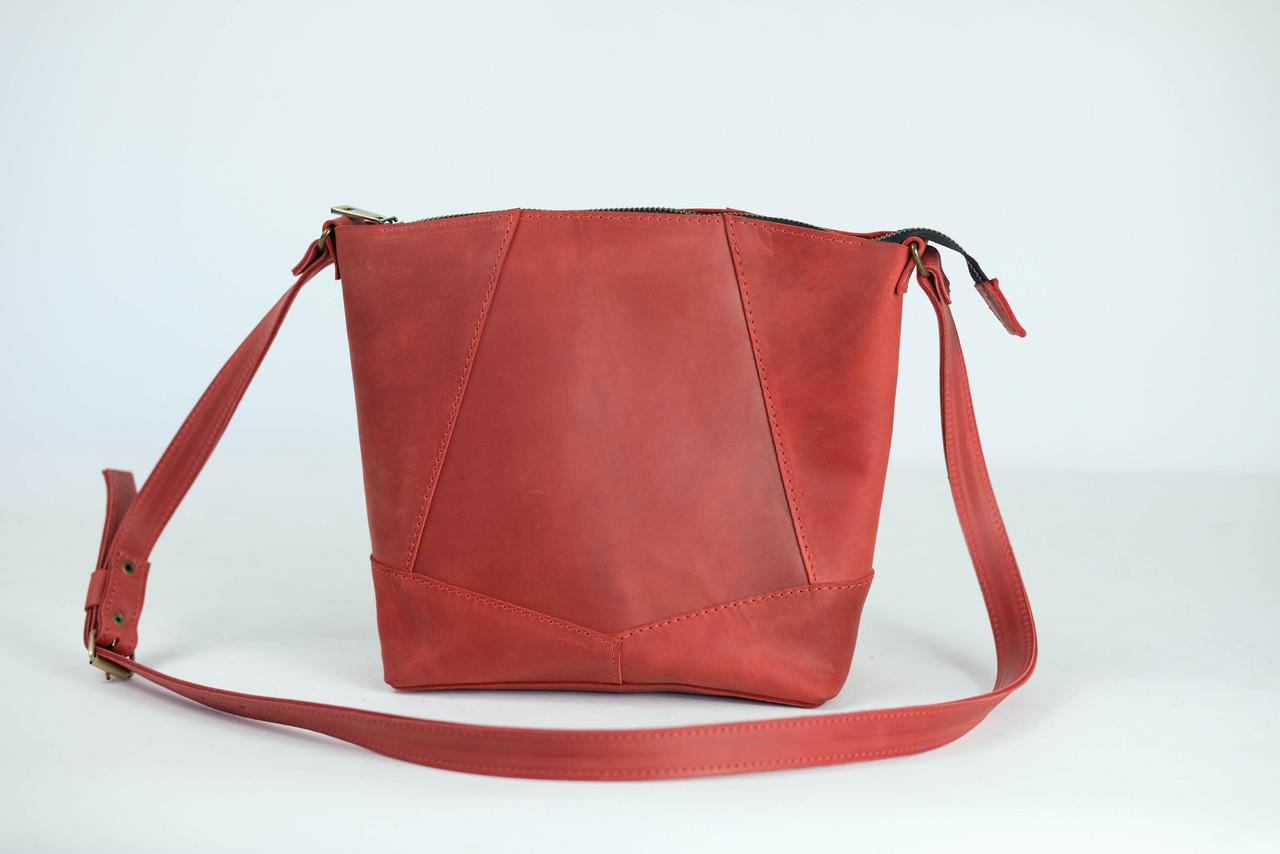 """Женская сумка шоппер """"Модель №32"""" Винтажная кожа цвет Красный"""