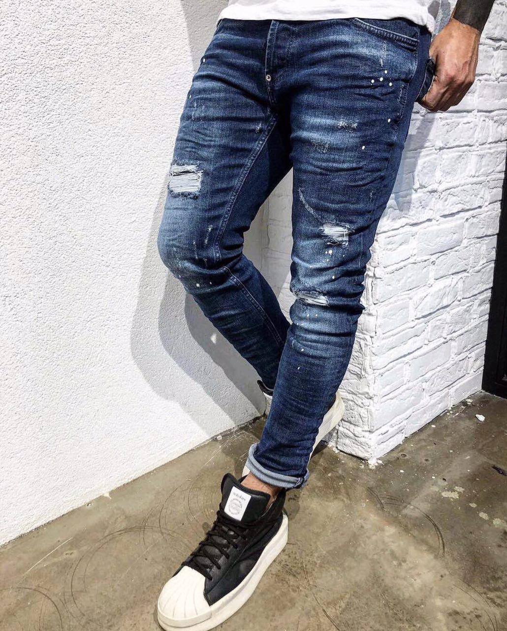 Мужские джинсы зауженные Black Island 3284 blue