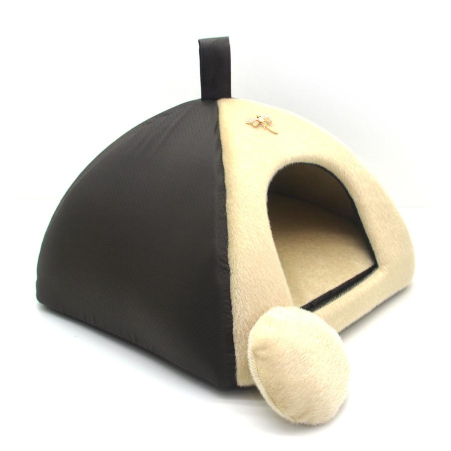 Домик юрта для котов и собак Мех коричневый