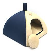 Домик юрта для котов и собак Мех синий