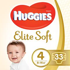 Подгузники Huggies Elite Soft Maxi 4 (8-14кг), 33шт