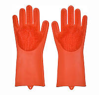 🔝 Перчатки силиконовые для мытья посуды хозяйственные для кухни Magic Silicone Gloves оранжевые | 🎁%🚚