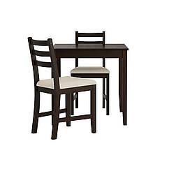 Стол и 2 стула IKEA LERHAMN 74x74 см черно-коричневый бежевый 593.062.68