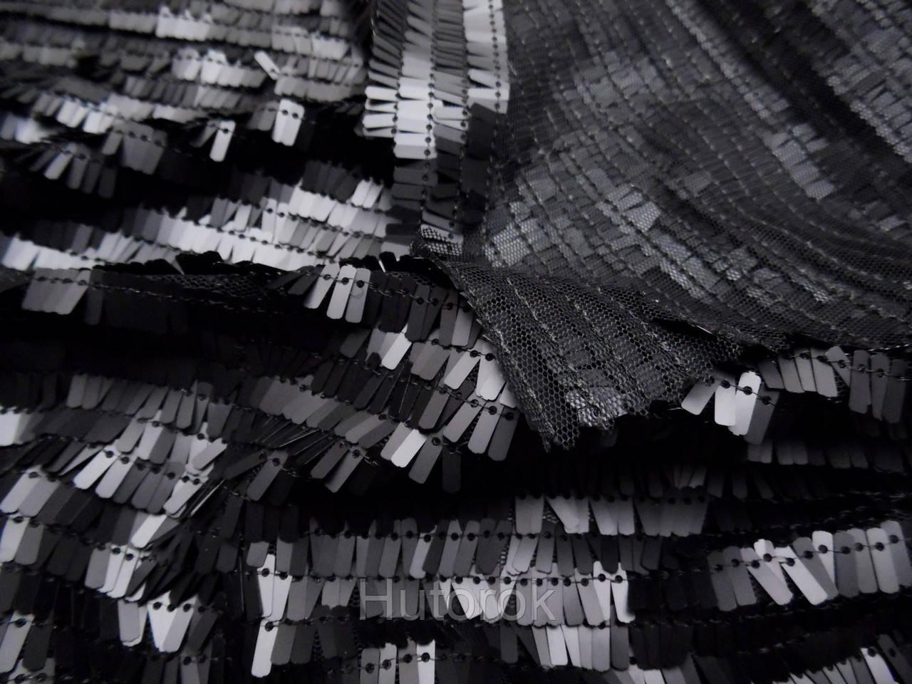 Пайеточная ткань палочка (черный)
