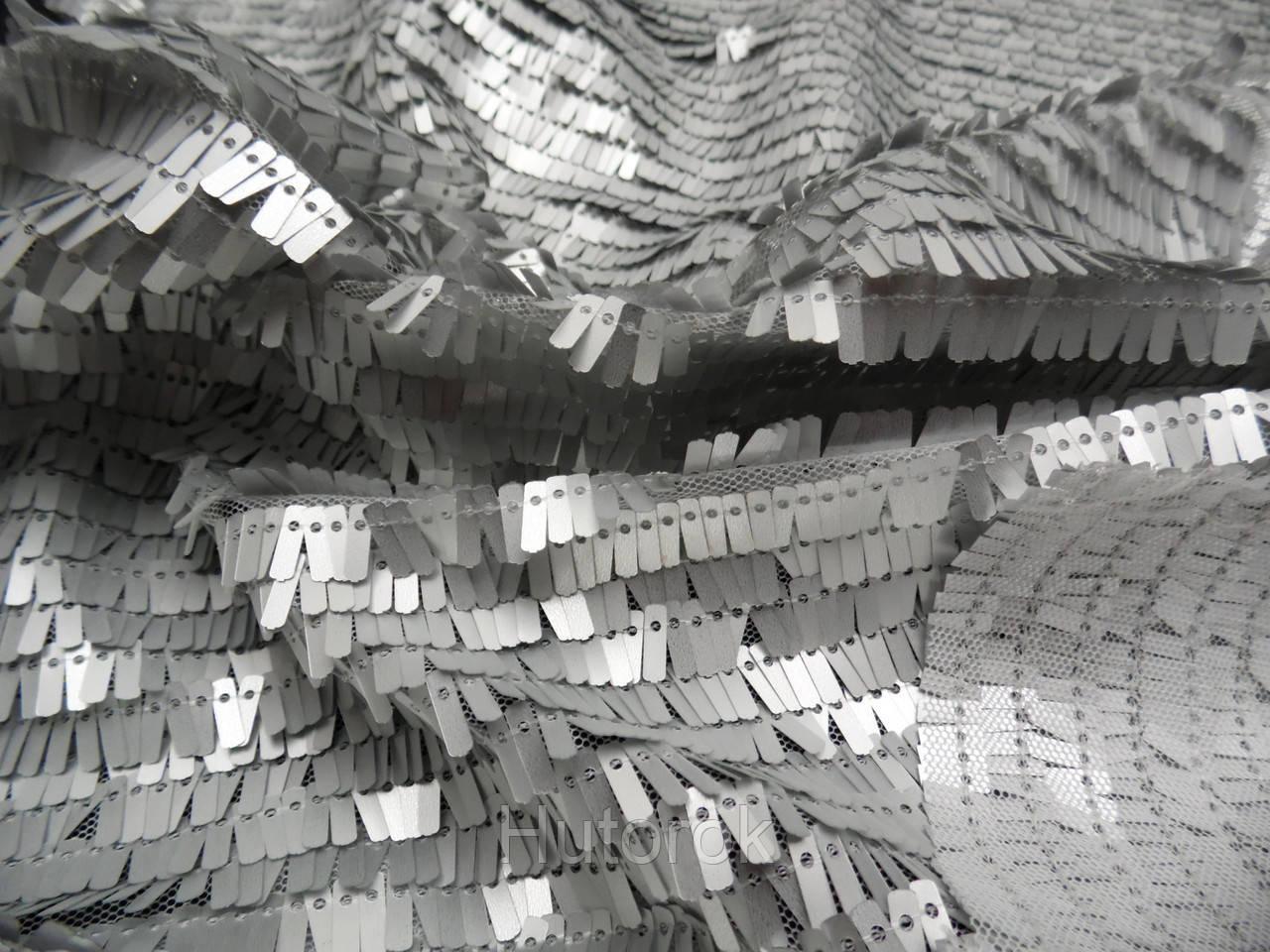 Пайеточная ткань палочка (серебро)