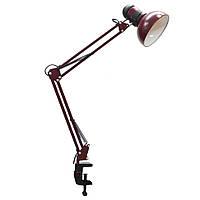 Лампа настольная N800 на струбцине бордовая
