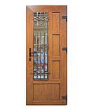 Двери входные металлопластиковые с окном и ковкой, фото 4