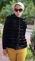 Куртка-жилетка трансформер норковая с вязаными рукавами и капюшоном, которые снимаються, поперечка, черная,, фото 1