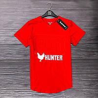 """Мужская футболка с надписью """" Хантер , хлопок, красная"""