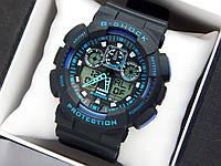 Casio G-Shock ga-100 спортивные наручные часы черного цвета с синим циферблатом, фото 1