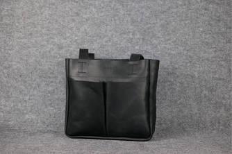 """Женская сумка """"Шоппер с двумя карманами"""" Винтажная кожа цвет Черный"""