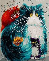 Картина по номерам Разноцветные коты