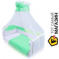 Комплект постельного белья для новорожденных 90x120 см хлопок аквамарин Twins Magic Sleep 8пр. (M-003)