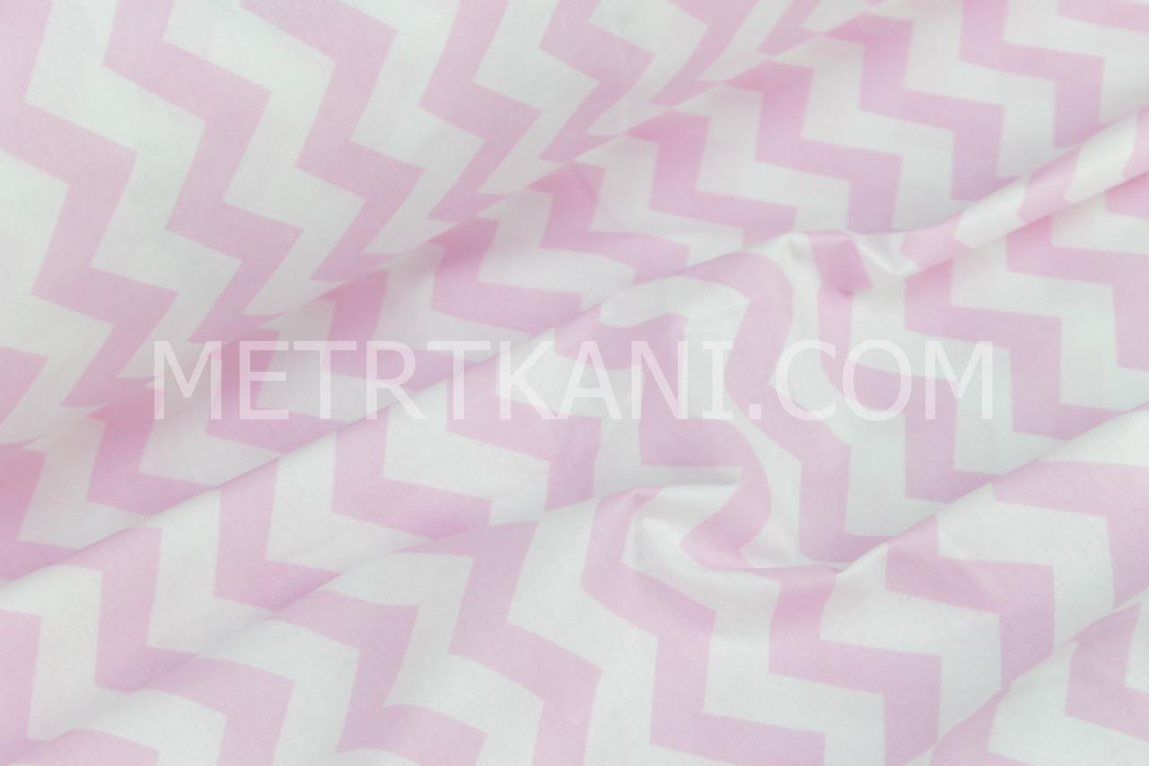 Ткань хлопковая, бязь  розовый зигзаг №37