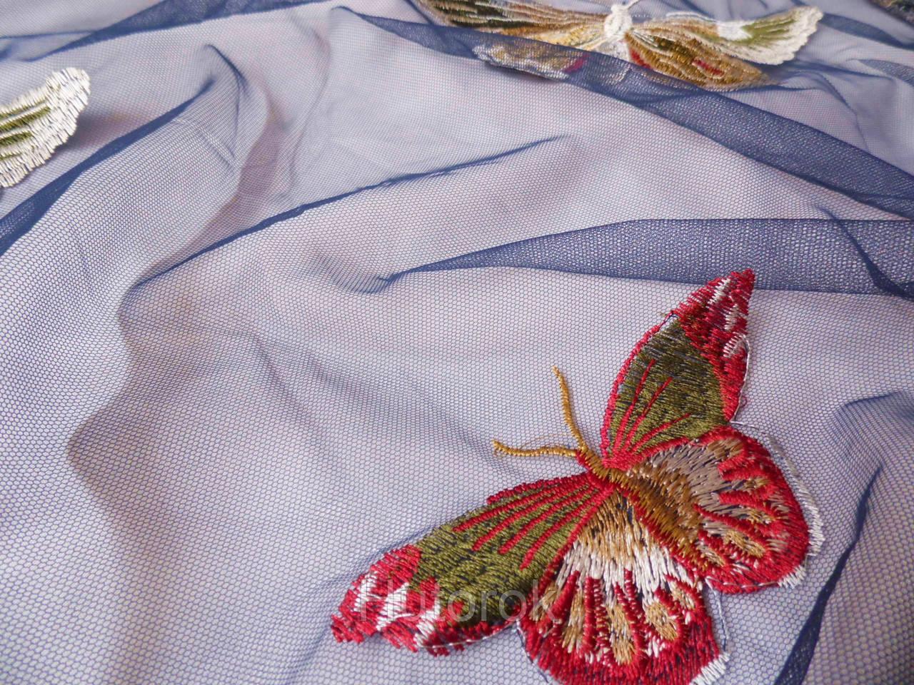 Сетка с вышивкой (бабочки)