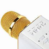 Беспроводной микрофон-караоке Bluetooth Q9 Karaoke с чехлом Gold, фото 3