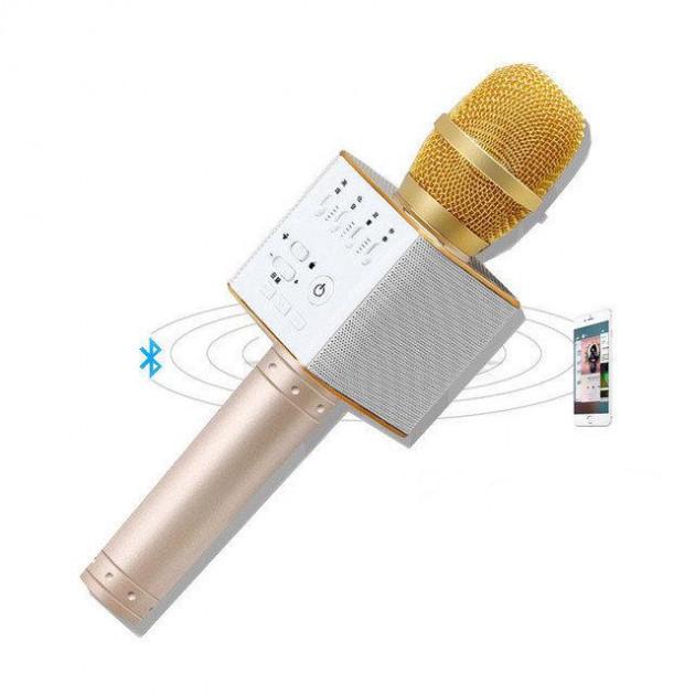 Беспроводной микрофон-караоке Bluetooth Q9 Karaoke с чехлом Gold