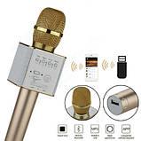 Беспроводной микрофон-караоке Bluetooth Q9 Karaoke с чехлом Gold, фото 5