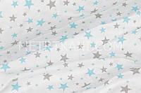 Ткань хлопковая звездопад серые и бирюзовые звезды на белом фоне № 795