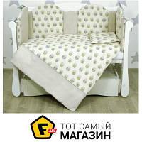 Комплект постельного белья для новорожденных 100х130 см хлопок бежевый, зеленый Veres Owls бежевый/зеленый (220.06)