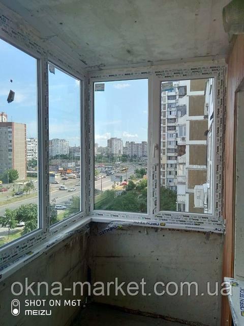 Остекление Г-образного балкона Киев пр. Маяковского 89 - бригадой №4