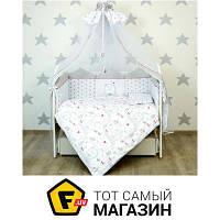 Комплект постельного белья для новорожденных 100х130 см хлопок светло-серый Veres Bear House (216.04.7)