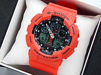 Casio G-Shock ga-100 спортивные наручные часы красного цвета с черным циферблатом, фото 1